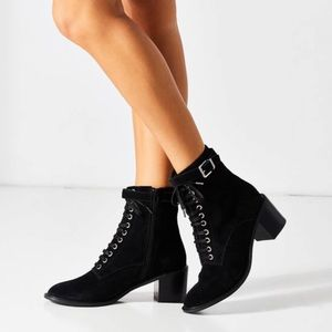 Urban Outfitters 'Karen' suede heeled lace up boot